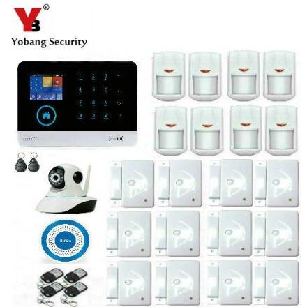 цена на Yobang Security Russian French Spanish APP Control WIFI RFID GSM SMS Home Security Alarm System Video IP Camera Sensor Detector