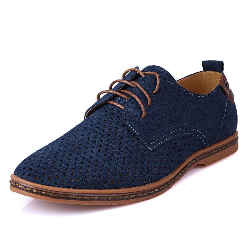 2016 New Summer Men Shoes Plus Size Genuine Leather Casual Shoes Men Fashion Suede Breathable Sandals