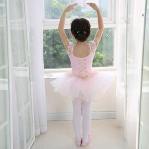 Image 4 - White Swan Lake Ballet Costume Short Sleeve Ballerina Clothes Children Kids Tutu Ballet Dress Lace Ballet Dancewear For Girls