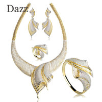 Dazz Big Pendant Jewelry Sets For Women Dubai Wedding Hollow Cubic Zircon Dangle Earring Big Bangle Bracelets Earring Sets Anel