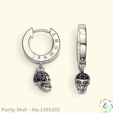 Pave Skull Hoop Earrings Thomas Style Glam And Soul Good Silver Jewerly For Women 2015 Ts Gift In silver-plated