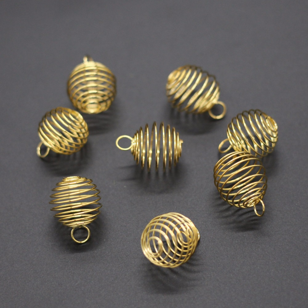 Yidensy 20pcs Small Shiny Gold Silver Color Wire Wrap Cage Pendants Beads for DIY Crystals Stones Jewelry Making Craft Supply