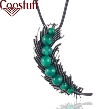 Vintage Long Necklace with Green Bean Pendant necklaces & pendants Wholesale Plant Jewelry collares mujer colar choker