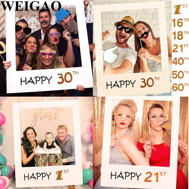 Chicinlife Glücklich 30/35/40/50th Papier Photo Booth Props ...