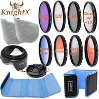 KnightX Estrella rosa Lente de 49mm 77 MM UV CPL FLD Filtro de Accesorios para canon NIKON d3300 D5200 d3100 d5100 1200d nd gopro 650d d7200
