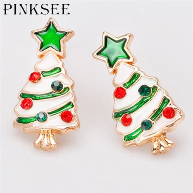 4f32a4fa5701f US $1.91 10% OFF|PINKSEE Trendy Christmas Charm Stud Earring Jewelry  Multicolor Christmas Tree Metal Women Earrings Jewelry Friend Gift-in Stud  ...
