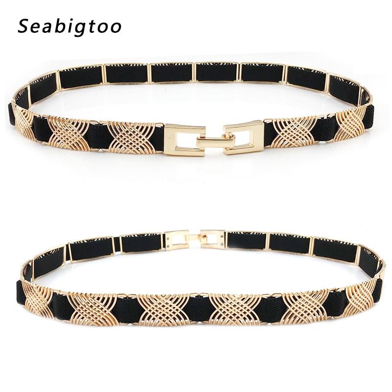 Elastic black   belts   for women dresses gold metal   belts   female luxury brand women fashion 2018 metal waist chain   belts   Stylish