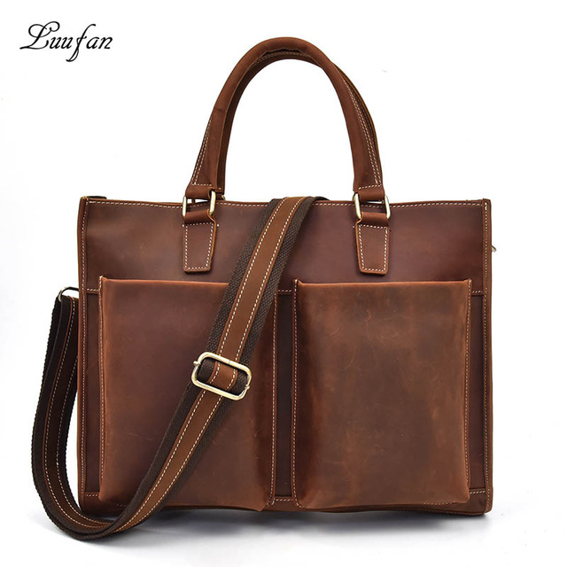 Men s vintage crazy horse leather briefcase fit 14 Laptop bag High quality real Leather work