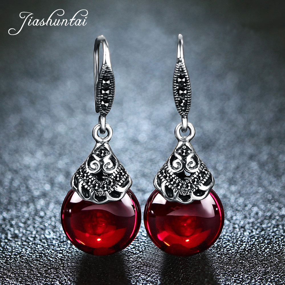 JIASHUNTAI 100 925 Sterling Silver Earrings For Women Retro Round Natural Stones Earrings Vintage Thai Silver
