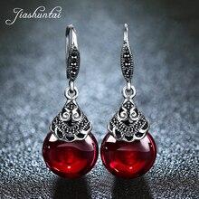 JIASHUNTAI 925 пробы 100% серебряные серьги для женщин ретро круглые натуральные камни серьги Винтаж тайский серебряные ювелирные изделия лучший подарок