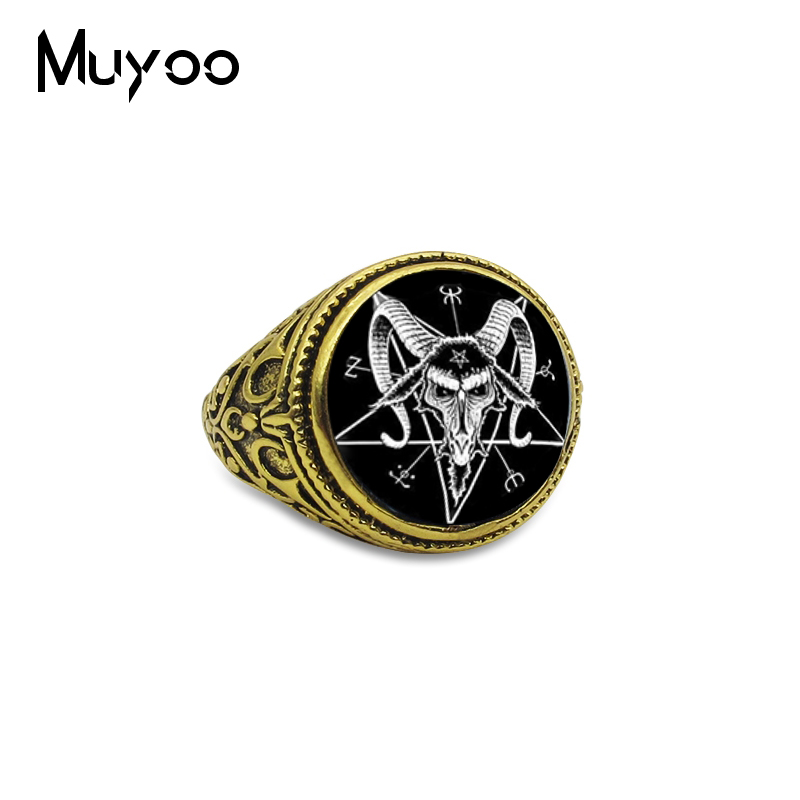 Gold-Rings Jewelry Goat-Head Baphomet Pentagram Silver Antique Inverted New-Arrival