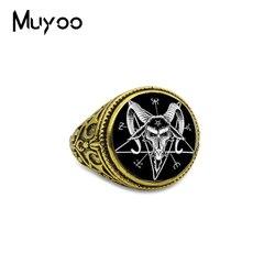 Yeni Varış Baphomet Ters Pentagram Keçi Kafası Antik Gümüş Altın Yüzük Baphomet Takı Satanism Yüzük