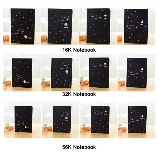 1 PC/Lot Classic Black-Page 16K 32K 56K Notebook & Diary & Notepad for School Stationery & Office & Drawing & Sketch