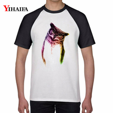 Summer T Shirts Gradient Color Owl Animal Print Graphic Tees Shirt Men Women Casual Hip Hop Tee Short Sleeve Tops
