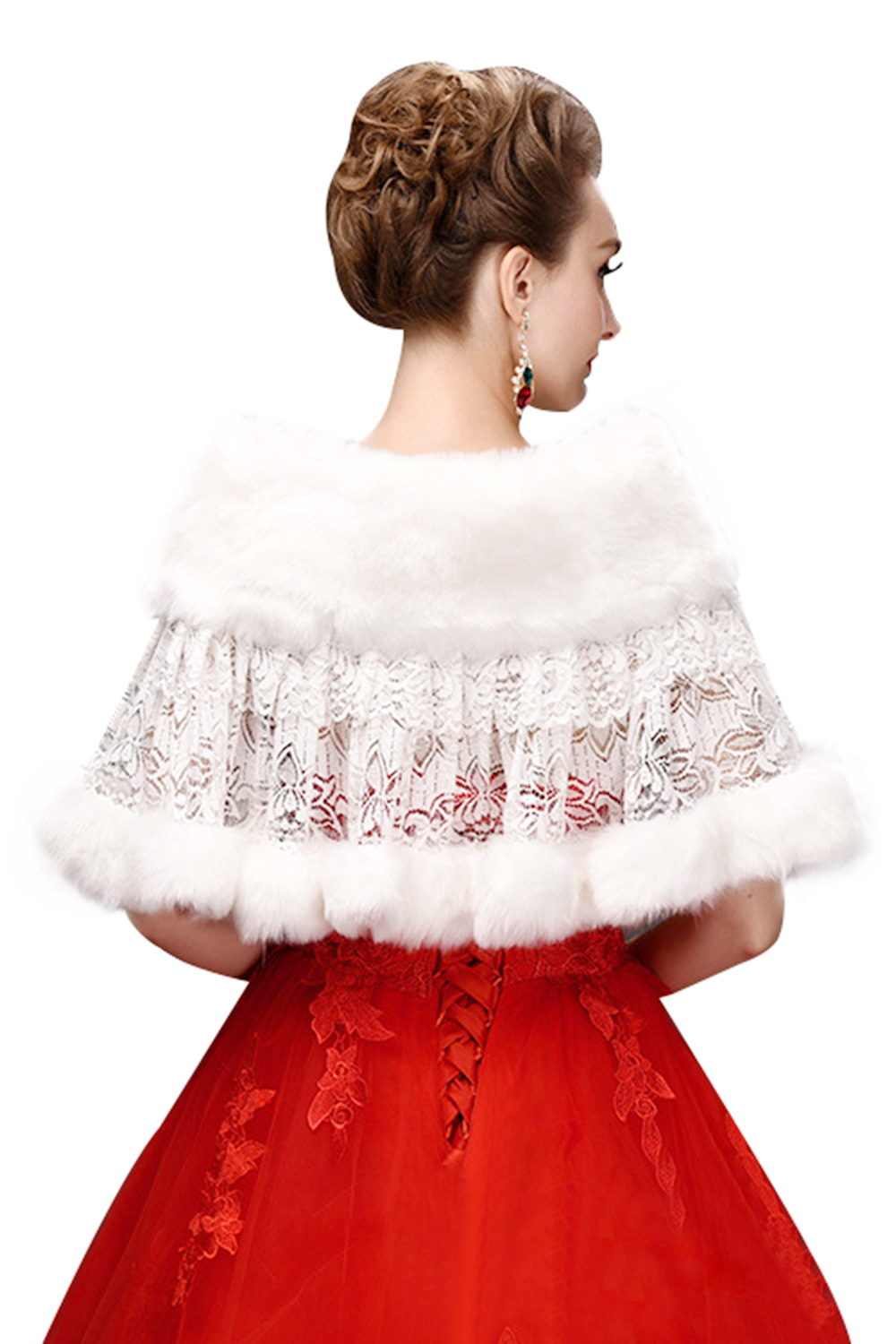 Купить с кэшбэком MisShow Cheap Wedding Shawl Shrug Faux Fur Wrap Ivory White Wedding Bolero 2019 Fur Coat Cape Wedding Accessories Bridal Jacket