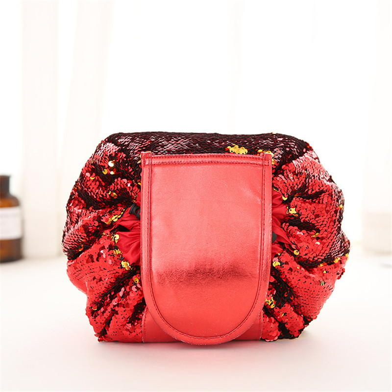 New Fashion Lazy Cosmetic Bags Double-sided Mermaid Sequin Makeup Bag For Women Drawstring Cosmetics Organizer Toiletry Bag