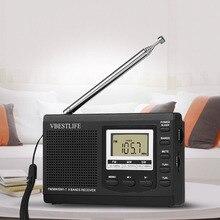 VBESTLIFE altoparlante Mini Radio Stereo FM/MW/SW ricevitore a banda intera DC 5V sveglia digitale portatile lettore musicale