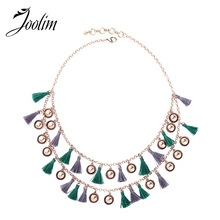 JOOLIM Jewelry Antique Gold Color Gray Green Fringe Tassel Layered Necklace Statement Collar  2018 Wholesale