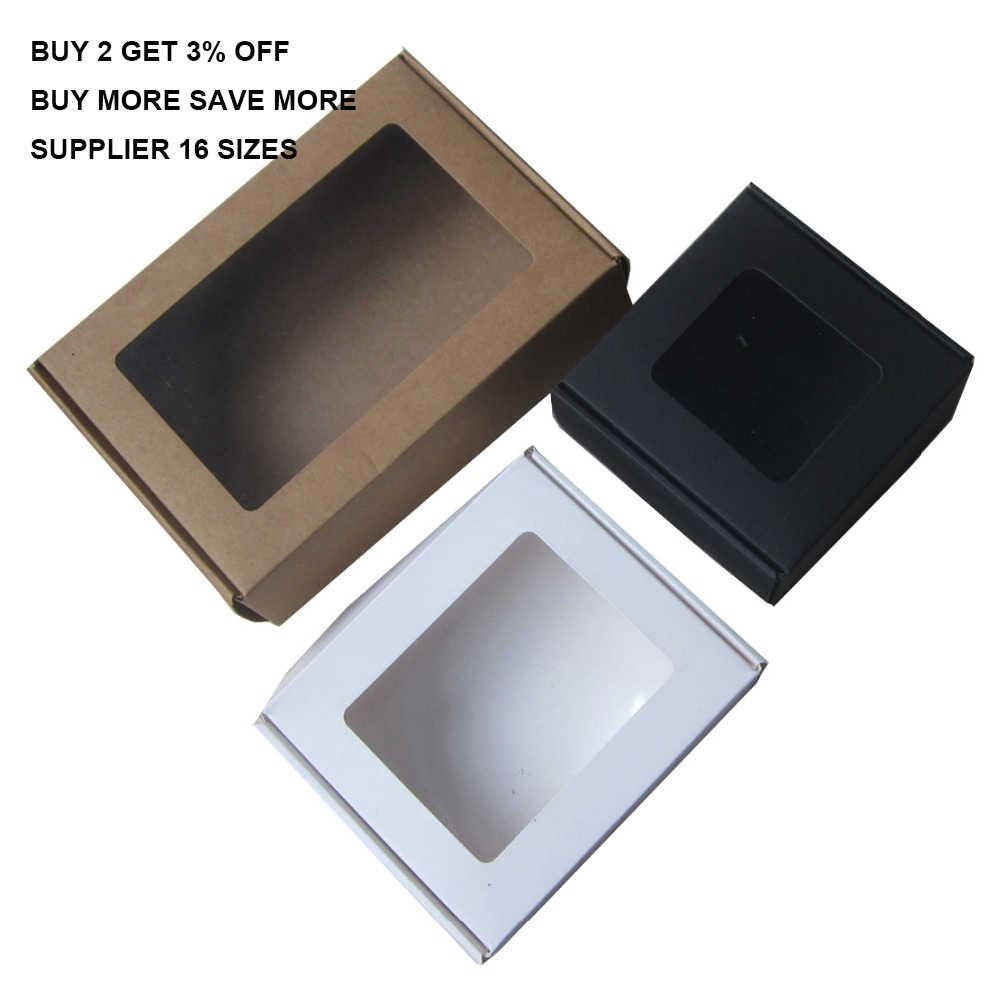 30pcs Window Black Kraft Large Paper Gift Box Packaging White Craft Small Gift Boxes For Gift Cardboard Box Packing Baby Shower