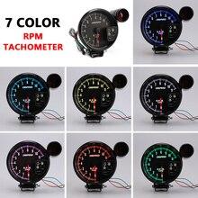 "12v 5 אינץ סל""ד מד מרוצי מכוניות מד Tachometer 11000k עם Led Shift אור 7 צבע מוצגות עבור 4 6 8 צילינדר כלי רכב"