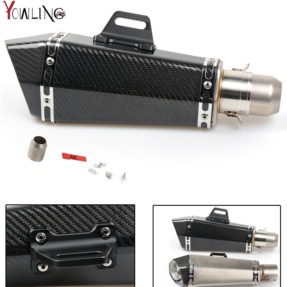 Motorcycle Real carbon fiber exhaust Exhaust Muffler pipe For YAMAHA YZF R1 R6 FZ1 FZ6 Fazer XJ6 YBR 125 250 R3 free shipping carbon fiber id 61mm motorcycle exhaust pipe with laser marking exhaust for large displacement motorcycle muffler