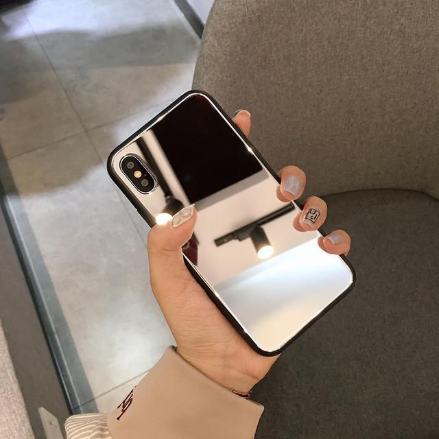 Funda de teléfono de espejo de maquillaje transparente de lujo para iphone