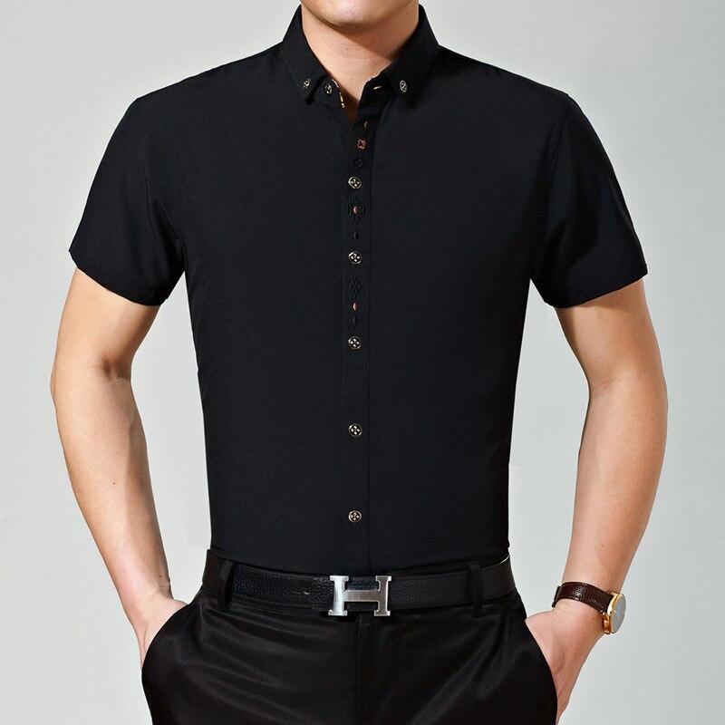 Летний Для мужчин офисные Вышивка конструкции одноцветное Цвет короткий рукав платье рубашка - Цвет: Черный