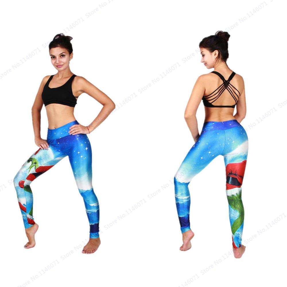 48e0667519a6c Green Santa Claus Yoga Pants Christmas Scary Costumes carnival halloween  Running Tights High Waist Womens Leggings Blue Trousers