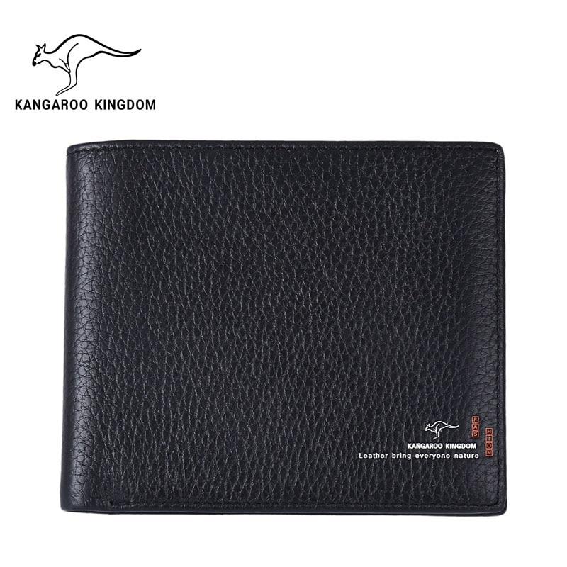 KANGAROO KINGDOM fashion men wallets genuine leather slim bifold ID credit card purse male pocket wallet