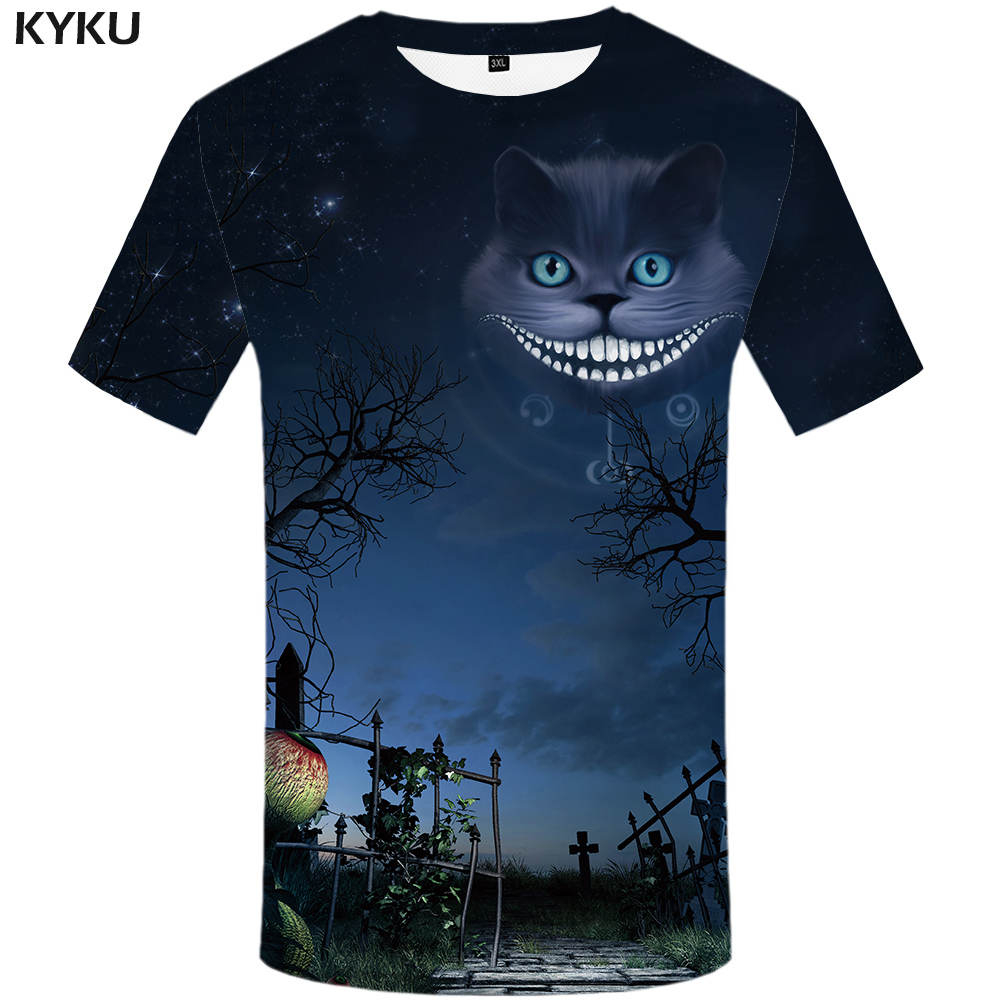 New Brand Cat T-shirt Halloween Clothing Moon Clothes Tops Funny Shirts Womens 3d Top Fu ...