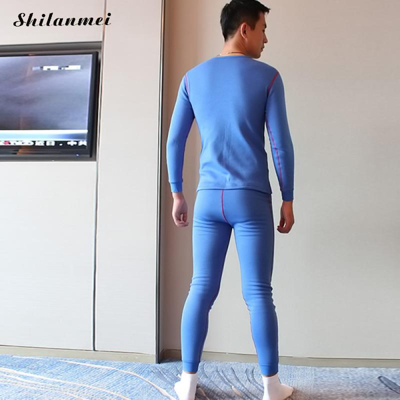 Winter Men Cotton Thermal Warm Underwear Sets Long Johns Sets Thermos termica Cueca Pajamas Mens Sexy tights lange unterhosen XL