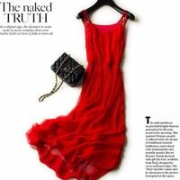 Новый 2018 Настоящее 100% шелковое платье Для женщин натуральный шелк Высокое качество Elegent Спагетти ремень пляжный отдых длинное платье Красн