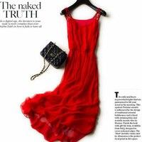 New 2018 Real 100%Silk Dress Women Natural Silk High Quality Elegent Spaghetti Strap Holiday Beach Long dress Red Free Shipping