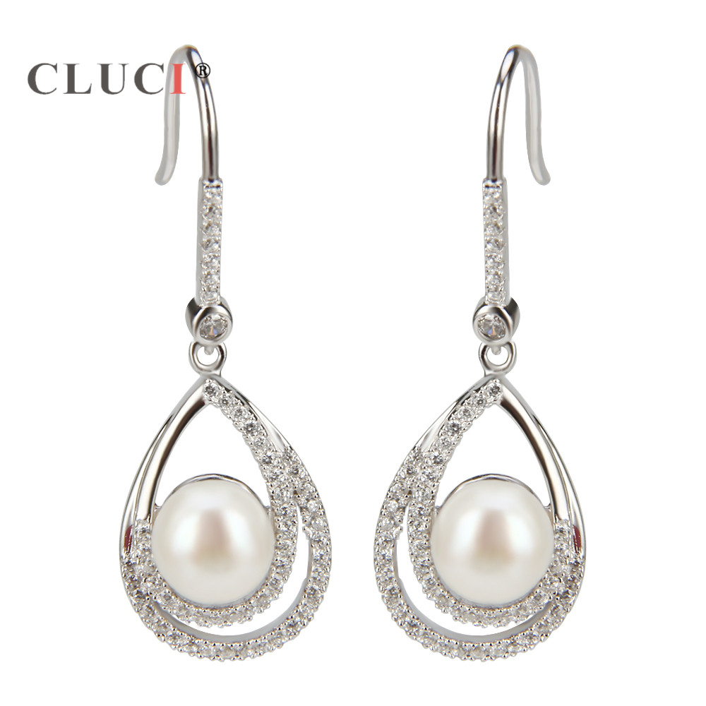 CLUCI Sterling Silver 925 Unique Double Oval Female Big Circle Earrings Simple Loop Pearl Earrings Jewelry Earrings Gift simple pearl earrings