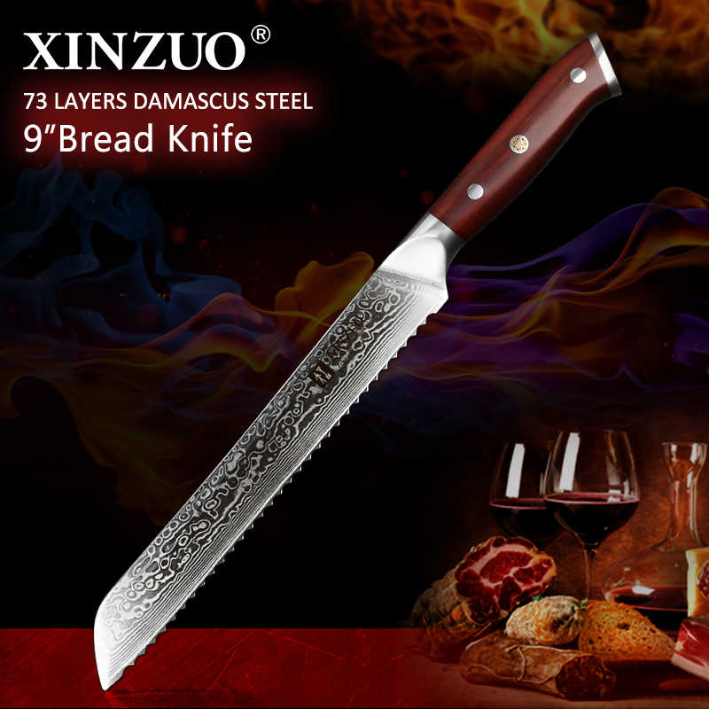 XINZUO  9'' inch Serrated Bread Knife Damascus Steel Rosewood Handle Kitchen Knives Brand High Quality Cake knife Cooking Tools