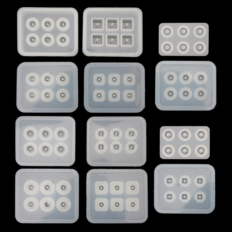12Pcs Beads Resin Molds Kit with Hole for Gemstone Cabochon Jewelry Casting