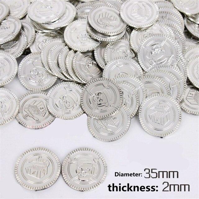 Monedas de plata de plástico accesorios de juguetes monedas de tesoro capitán pirata partido favores finja tesoro pecho niños juguetes suministros de fiesta 8Z
