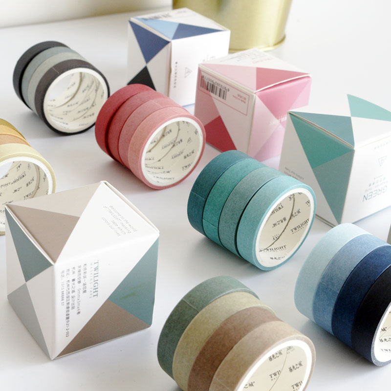 4 Rolls Decorative Washi Masking Tape Set Fall Color Paper Masking Tapes Japanese Washi Tape DIY Scrapbooking Sticker