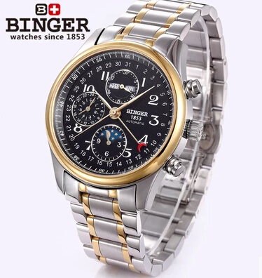 2016 New Trendy gold Luxury Fashion Wristwatches men watch sports Brand Binger Automatic Stainless steel Men