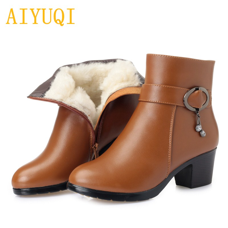 AIYUQI 2019 new genuine leather ladies short winter boots, wool warm snow boots women,big size 41 42 43 martin boots women