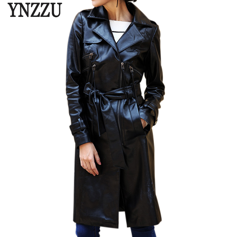 YNZZU 2018 Autumn Women Faux   Leather   Jacket Solid Vintage Long Sleeve Slim Long Coat Zipper Motorcycle PU Jacket with Belt YO550