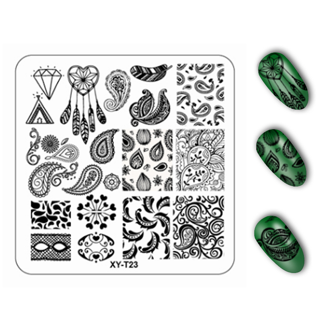 1pcs Flower Plant Pattern Image plastic Nail Stamping Plates  6*6cm Square Stencils for Nails Stamping Nail Art tools