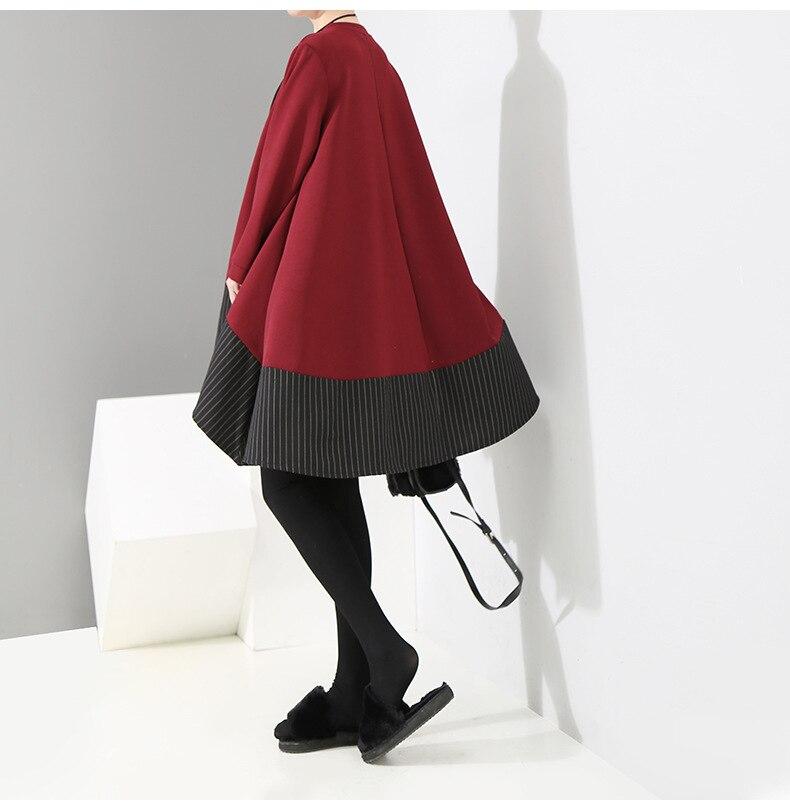 HTB1NaFwXOLxK1Rjy0Ffq6zYdVXao - [EAM] 2019 New Spring  Winter Round Neck Long Sleeve Red Striped Irregular Printed Stitch Big Hemline Dress Women Fashion JK557