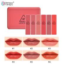 Hengfang 6шт матовая бархатная помада мини макияж губ комплект водонепроницаемый ню сексуальные пигм