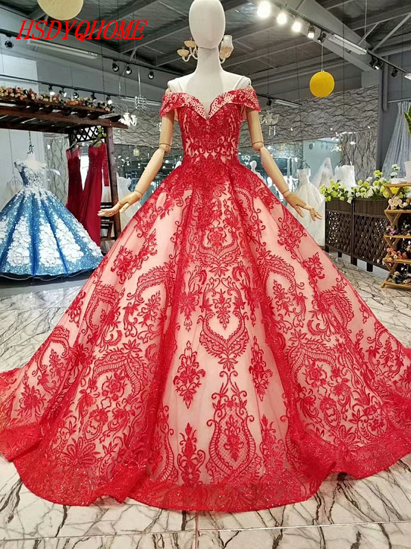 HSDYQHOME Luxury A-Line   Evening     dresses   2018 Red Lace Prom party   Dresses   Amazing Vestidos   Evening   party gown