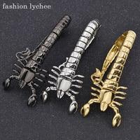 Mode lychee Punk Rock Gothique Scorpion Chaîne Bracelet Bracelet Argent Inoxydable Titane Acier Métal Hommes Bijoux