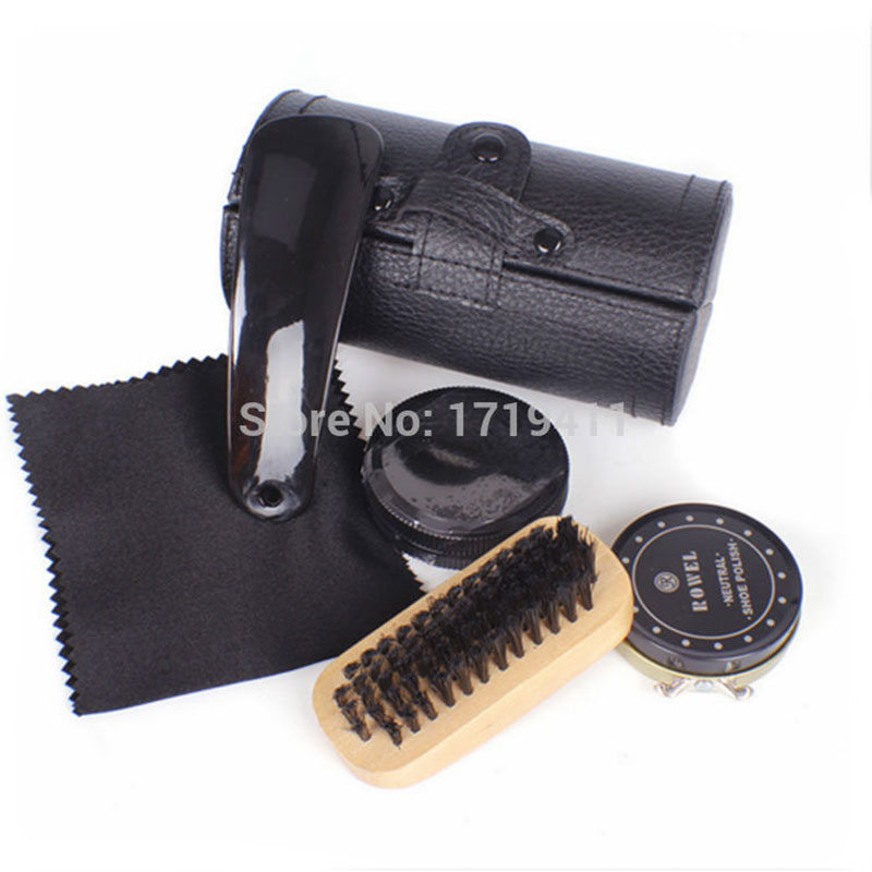 New High Quality 5 Pieces Professional Shoe Care Tool Black & Neutral Shoe Shine Polish Cleaning Smooth Wooden Brushes Set new professional high quality  false