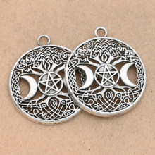 2pcs Antique Silver Plated Moon Star Triple Goddess Charm Pendant fit Bracelet Necklace Jewelry DIY Making Accessories 35mm(China)