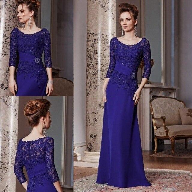 Королевский синий Большой размер мать невесты кружева платья с рукавами совок шеи чисто мать платье свадебное ну вечеринку вечерние платья
