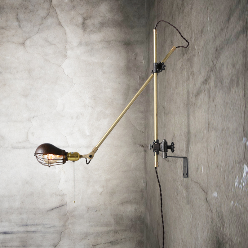 Retro Loft Iron Swing Arm Edison Wall Sconce American Antique Copper Wall Lamps Foldable Wall Light Fixtures Industrial Lighting